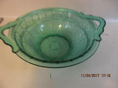Jeannette Glass Ultramarine Doric & Pansy Handled Center Bowl Fruit Bowl