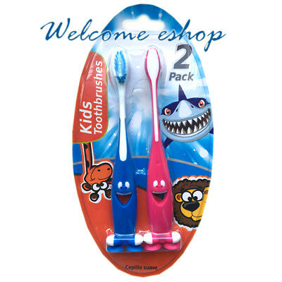 Children kids Fun Easy Grip Handle Soft Toothbrush With Suction Cup pack of 2