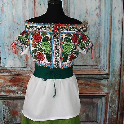 Amazon Parrots Hand Embroidered Juquila Blouse Oaxaca Mexican Romantic Fiesta