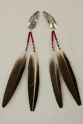Set of 2 Navajo Indian Made Beaded & Genuine Feathers Hair Barrettes