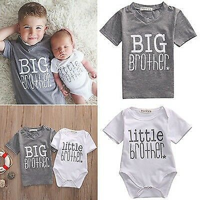 UK Little Brother Baby Boy Romper Bodysuit Big Boy T-shirt Tops Matching Outfits