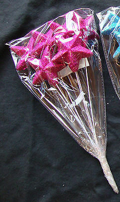6 x Pink Sparkle Stars picks Decorations Crafts Cake Toppers Party Decotaions