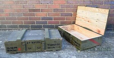 Large Army Wooden Storage Box Tools Garage Wood Chest Trunk Lid Military Surplus