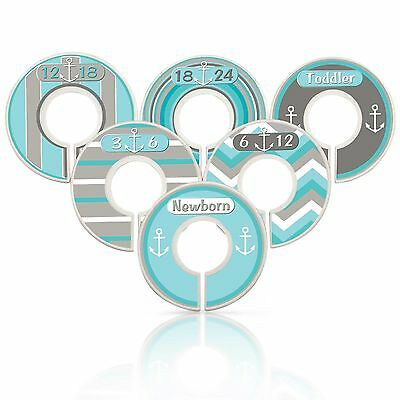 Custom Baby Closet Dividers Nautical Nursery Aqua Grey Clothes Organizers