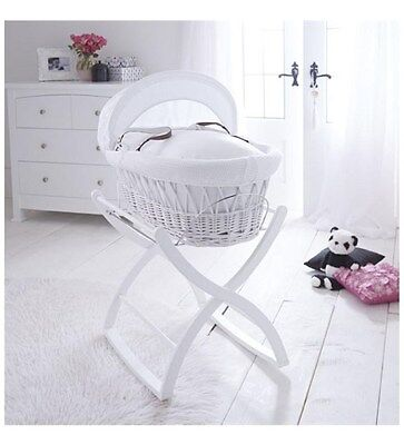 Izziwotnot Rocking Wooden Baby's Moses Basket Stand - White