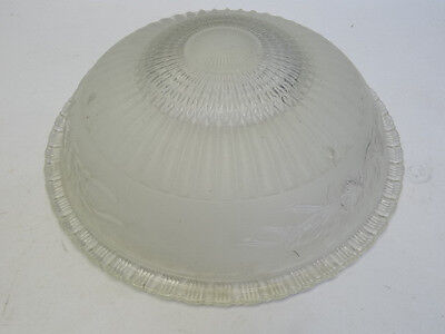 Vintage Used Old Frosted Glass Floral Pattern Large Ceiling Light Fixture Shade