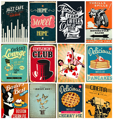 Vintage 60's Style  Posters Prints Large A1 A2 A3 A4 Retro Kitchen Home Decor