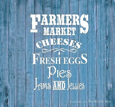 Stencil Mylar Reusable Shabby Chic Vintage Farmers Market Kitchen Wall Art
