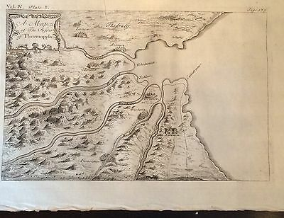 1730 DISPLAYABL Copper-Plate MAP ENGRAVING Ancient  Roman Empire THERMOPYLAE