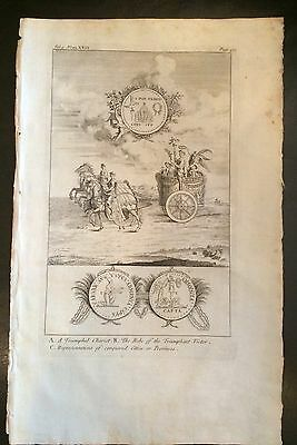 ORIGINAL 1729 DISPLAYABE Copper-Plate  ENGRAVING Ancient Roman Chariot & Medals