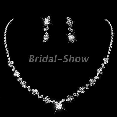 Stunning Silver Crystal Choker Necklace Earrings Jewelry Set Wedding Bridal Prom