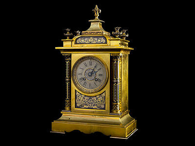 c1890 Gilded & Silvered Mantel Clock by Achille Brocot