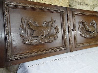 Antique FrenchHand Carved Oak Wood Two Panels Doors - Hunting Bird Pheasant