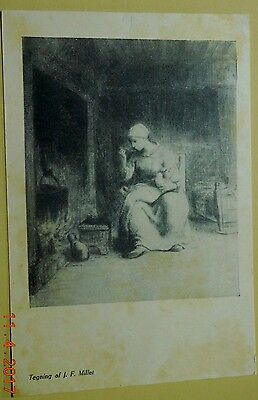 Denmark postcard: Drawing of J.F. Millet, unposted, with stamp.
