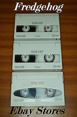 MAXELL P6-120XR (P5-90HMP)  Hi8 & DIGITAL8 VIDEO CAMCORDER TAPES / CASSETTES x 3