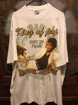 MICHAEL JACKSON ~Men's 3XL ~ NEW ~ King of Pop ~ Rest In Peace ~ T Shirt White
