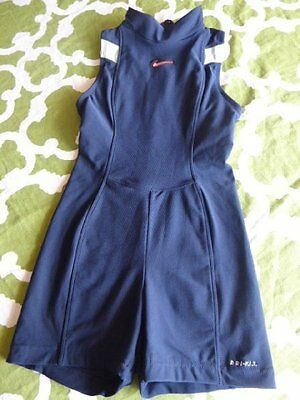 NIKE Dri-fit Womens S 4-6 Navy Blue Unitard Suit Track Gym Athletic Short