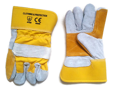 2 x Premium Quality Heavy Duty Reinforced Rigger Work Gloves Safety Gauntlets
