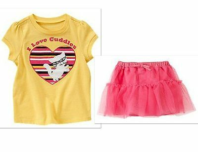NWT Crazy 8 Girls Size 2T Tulle Tutu Skirt & Kitty Cat Tee Shirt Top 2-PC SET