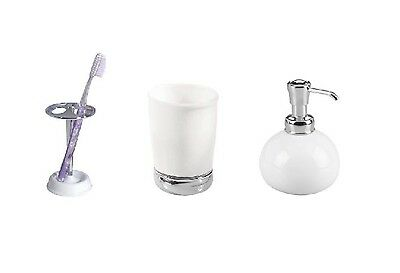 InterDesign White York Toothbrush Holder, Tumbler Cup & Soap/Lotion Dispenser