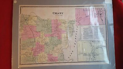 Chazy Township map 1874 Beautiful Chazy - Sciota - West Chazy -Point AuRoche