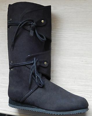 Black Faux Suede Medieval Renaissance Pirate Fairy Costume Cosplay Boots 4/37