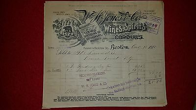 W.H.Jones & Co. Wines & Spirits & Cordials Aug 18, 1910 Invoice