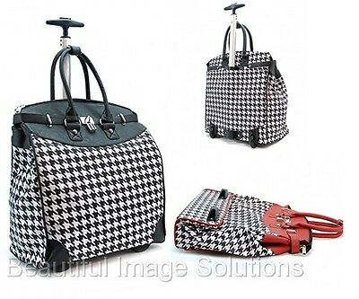 """Rolling Fashion Travel Luggage Foldable Carry-on Houndstooth 14"""" Laptop Tote Bag"""