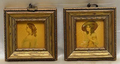 Pair of Antique Victorian Style Women Portraits in Gold Antique Decor Frames