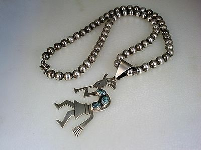 FAB NAVAJO STERLING SILVER PEARLS NECKLACE w/ SPIDERWEBBED TURQUOISE PENDANT