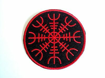 1x Vikings Helm of Awe Patch Embroider Cloth Patches Applique Badge Iron Sew On