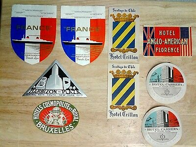 Collection of Nine Vintage Luggage Labels from Hotels and Cruise Ships