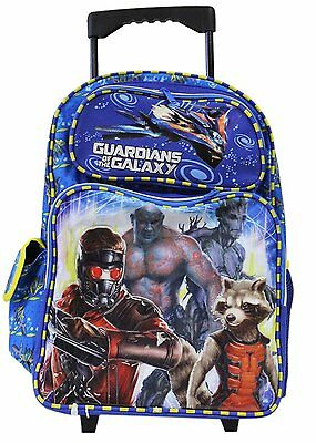 """2017 Full Size 16"""" Blue and Yellow Guardians of the Galaxy Rolling Backpack"""