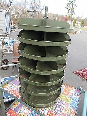 Vintage 7-Shelf Rotating Industrial Parts Bin Sorting Lazy-Susan Style Revolving