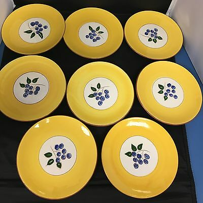 """Vintage Stangl Blueberry 8 Bread Butter Dessert Plates 6 1/4"""" Hand Painted"""