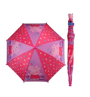 New Arrive Peppa Pig All Over Heart 3D Handle Girls Umbrella - Pink