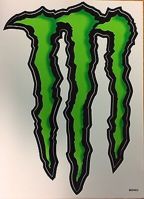 """Monster Energy Decal Authentic Sticker 6"""" wide x 8-1/2""""  (FREE MONSTER FLAG)"""