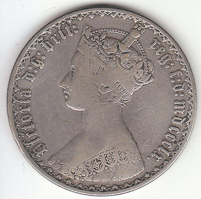1860 Great Britain Queen Victoria SILVER GOTHIC FLORIN TWO SHILLING - mdccclx