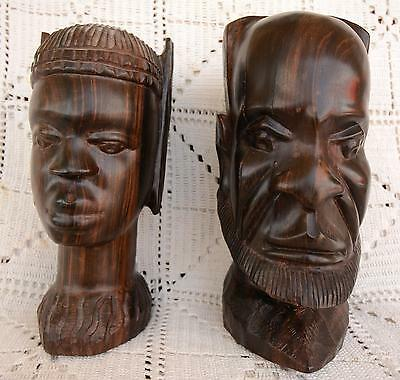 Vintage Life Size  Hand Carved African Male & Female Mahogany Wooden Heads Bust