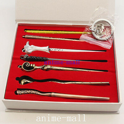 7PCS Harry Potter Hogwarts School Magic Wand Keychain Character Toys In Box New