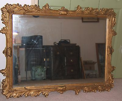 Large antique carved gold wall mirror wood & plaster NE Illinois Pick up only