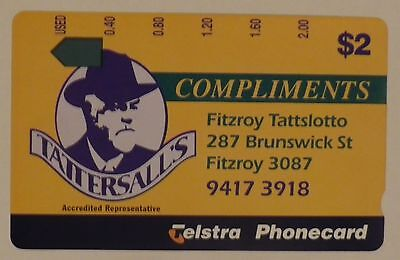 Scarce Telstra $2 Tattersall's Fitzroy Tattslotto complimentary phonecard mint