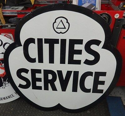 Original Clover Cities Service Double Sided Porcelain Sign Gas Oil Station