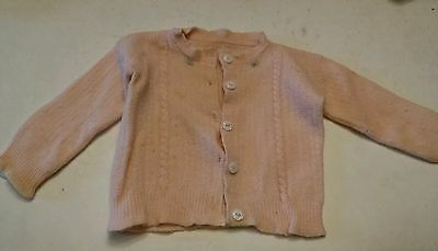 014 Cute Vintage Baby Girls Toddler Sweater 1940's?? Pink. Flower Design Lapel