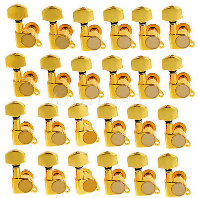 24R Gold Inline Closed Electric Guitar String Tuning Peg Machine Head Tuners Key