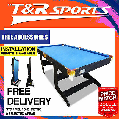 6Ft Mdf Foldable Pool Snooker Table Blue Felt Free Accessory For Billiard Room