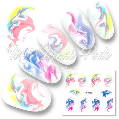 Nail Art Water Decals Stickers Transparent Water Marble Pastel Ink Swirls T182