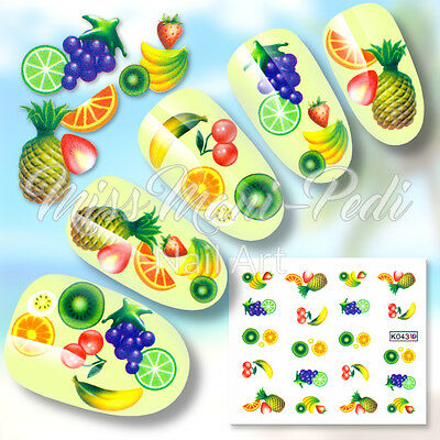 Nail Art Water Decals Stickers Transfers Tropical Fruit Summer Cocktails K043