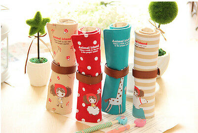 1PC Fashion Canvas Bag Holder Roll Up Stationery Pen Brushes Makeup Pencil Pouch