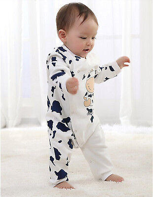 NEW Cow Newborn Girls Boys Cotton Clothes Baby Outfit Infant Romper Clothes 0-12